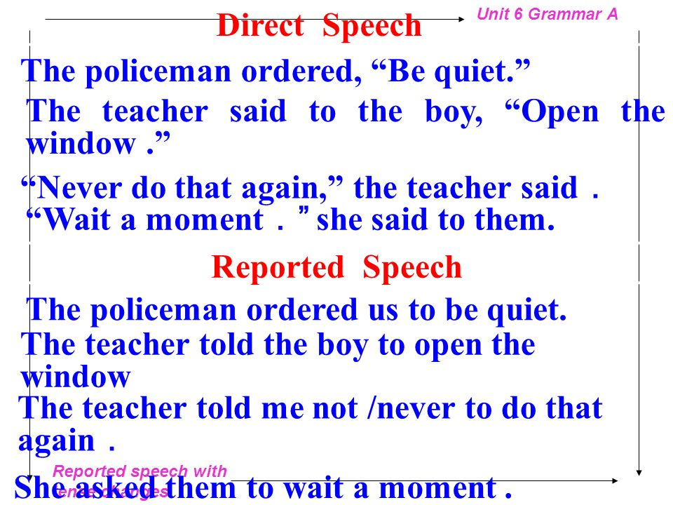 Direct Speech The policeman ordered, Be quiet. The teacher said to the boy, Open the window .