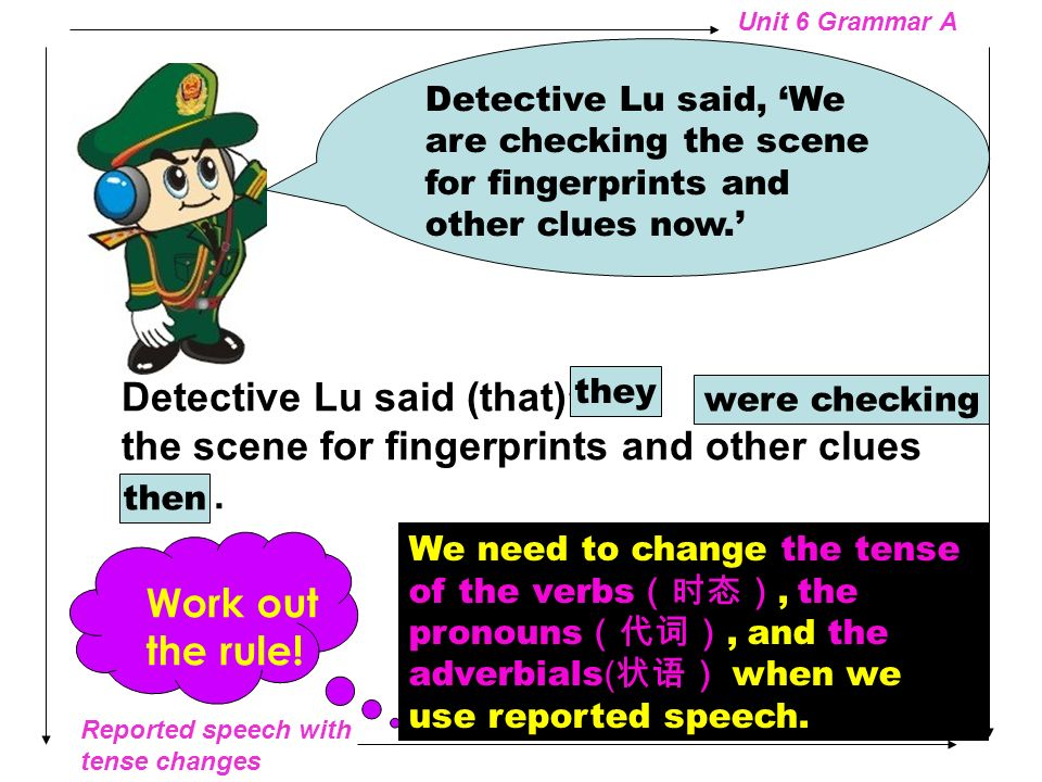 Detective Lu said, 'We are checking the scene for fingerprints and other clues now.'