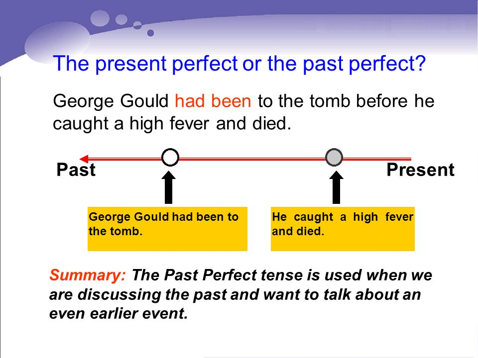 The present perfect or the past perfect