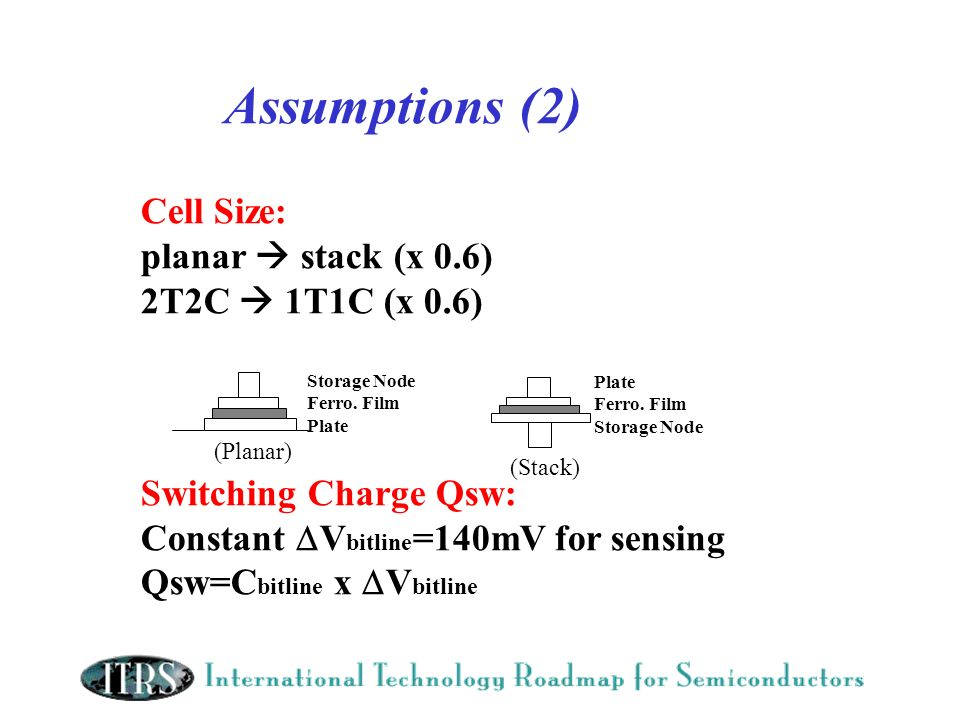 Assumptions (2) Cell Size: planar  stack (x 0.6) 2T2C  1T1C (x 0.6)