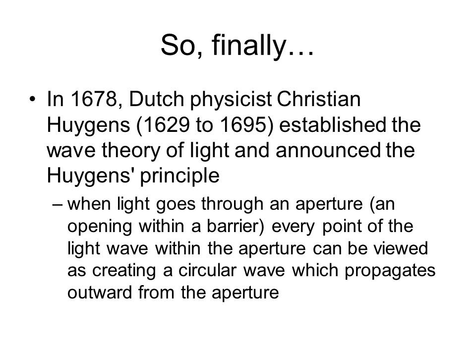 huygens wave theory of light pdf