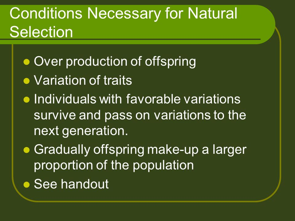 The Variations Necessary For Natural Selection