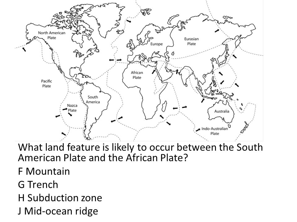 What land feature is likely to occur between the South American Plate and the African Plate.