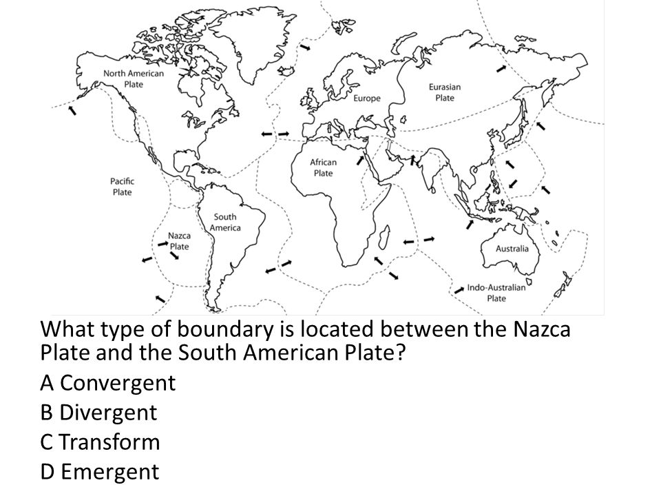What type of boundary is located between the Nazca Plate and the South American Plate.