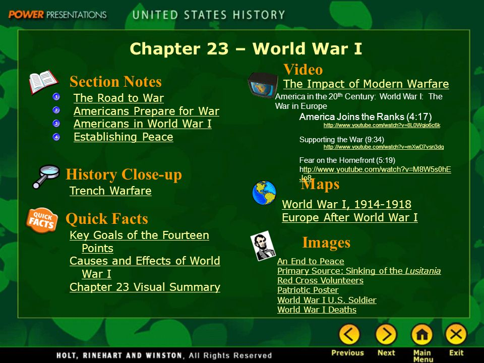 Chapter World War I Video Section Notes History Closeup Maps - Us map holt social studies