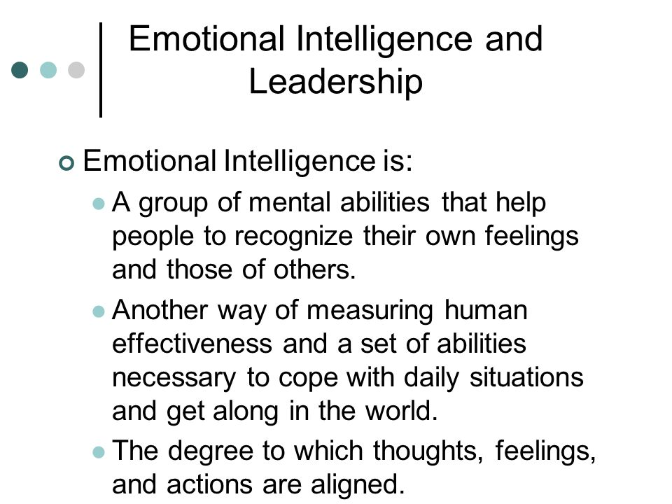 emotional intelligence and leaderships Linkages between emotional intelligence and transformational leadership one of the most prominent developments in the investigation of ei and tl is the confirmation of its utility for increasing organizational satisfaction, commitment, and effectiveness.