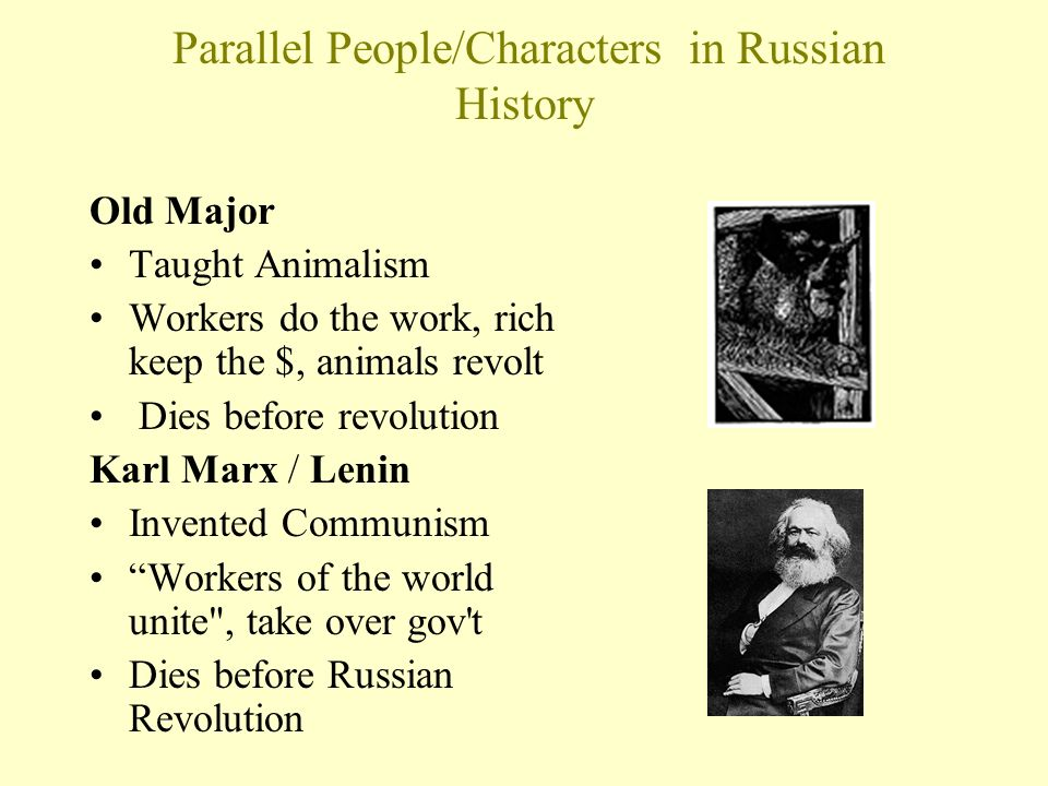 a comparison of animalism in orwells animal farm and marxism of russian evolution Marxism animalism vs marxism characters, items, and events found in george orwells book, animal farm, can be compared to similar characters, items, and events found in marxism and the 1917 the others like boxer, who plays the working class, and molly as white russia, and of course mendez 2 the evil dogs of napoleon who inspire the.