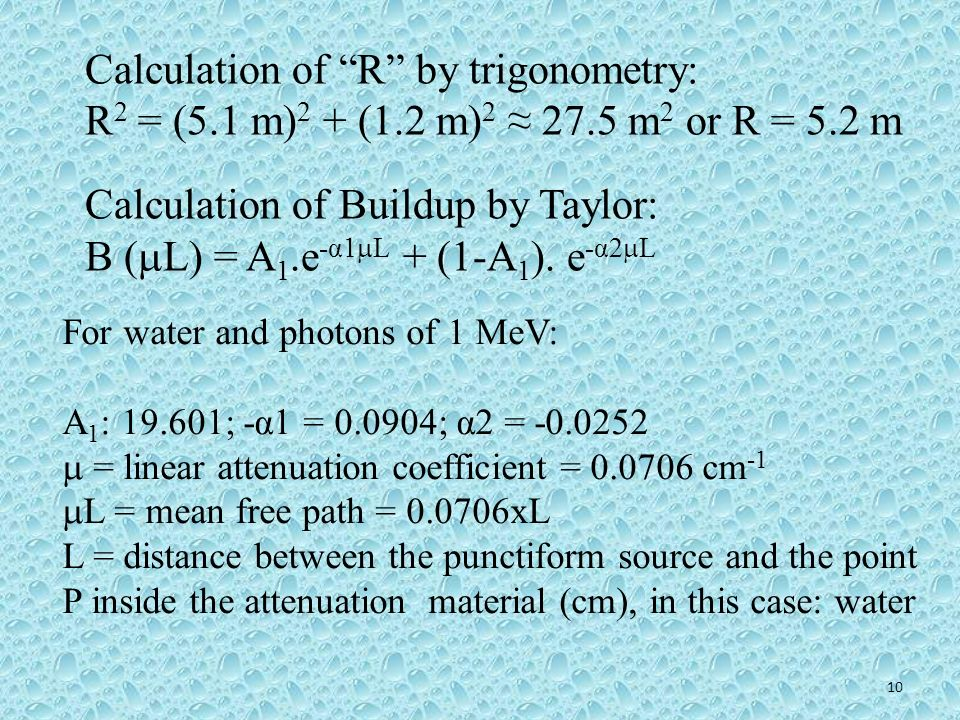 Calculation of R by trigonometry: