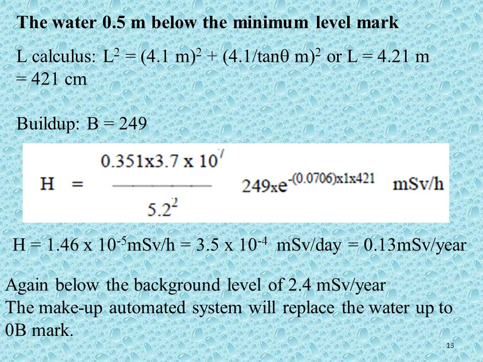 The water 0.5 m below the minimum level mark