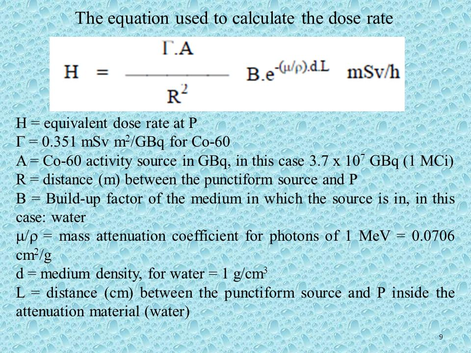 The equation used to calculate the dose rate