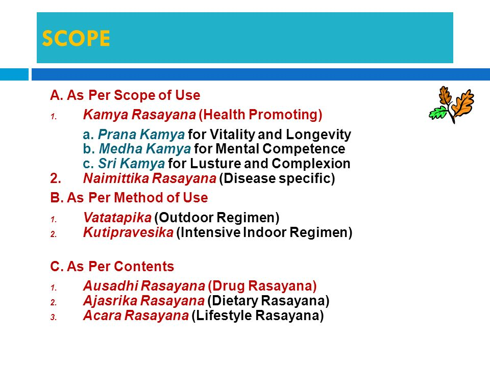 SCOPE A. As Per Scope of Use Kamya Rasayana (Health Promoting)