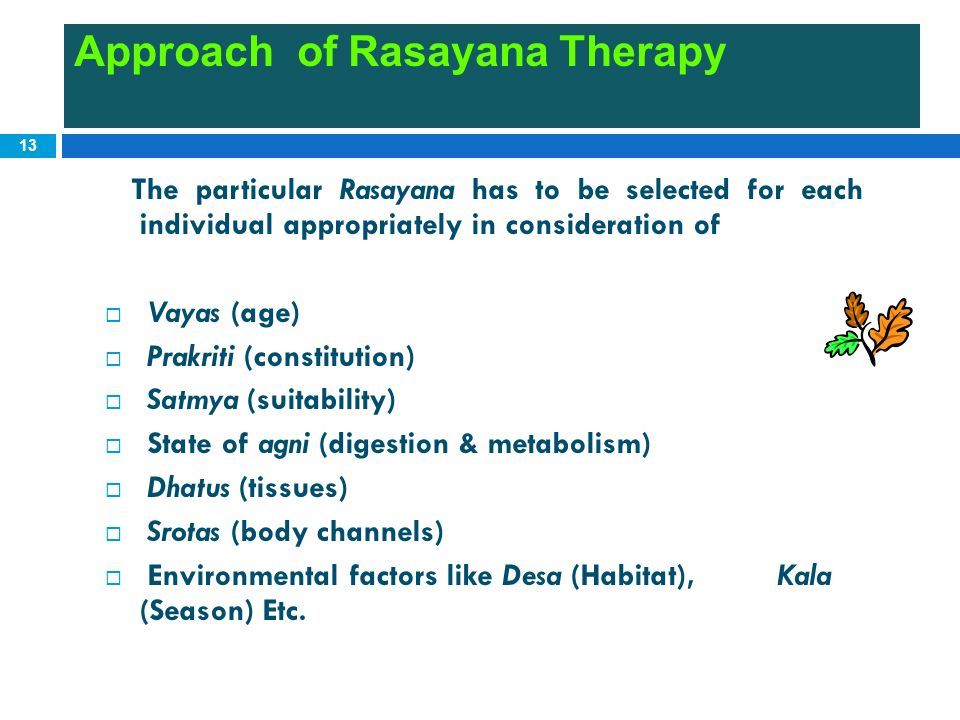 Approach of Rasayana Therapy
