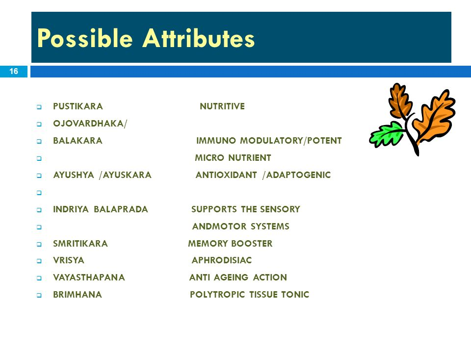 Possible Attributes PUSTIKARA NUTRITIVE OJOVARDHAKA/