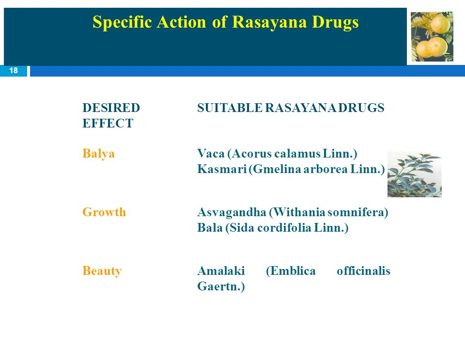 Specific Action of Rasayana Drugs