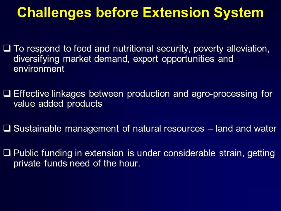 Challenges before Extension System