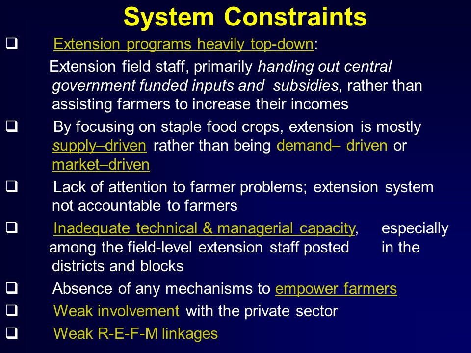 System Constraints Extension programs heavily top-down:
