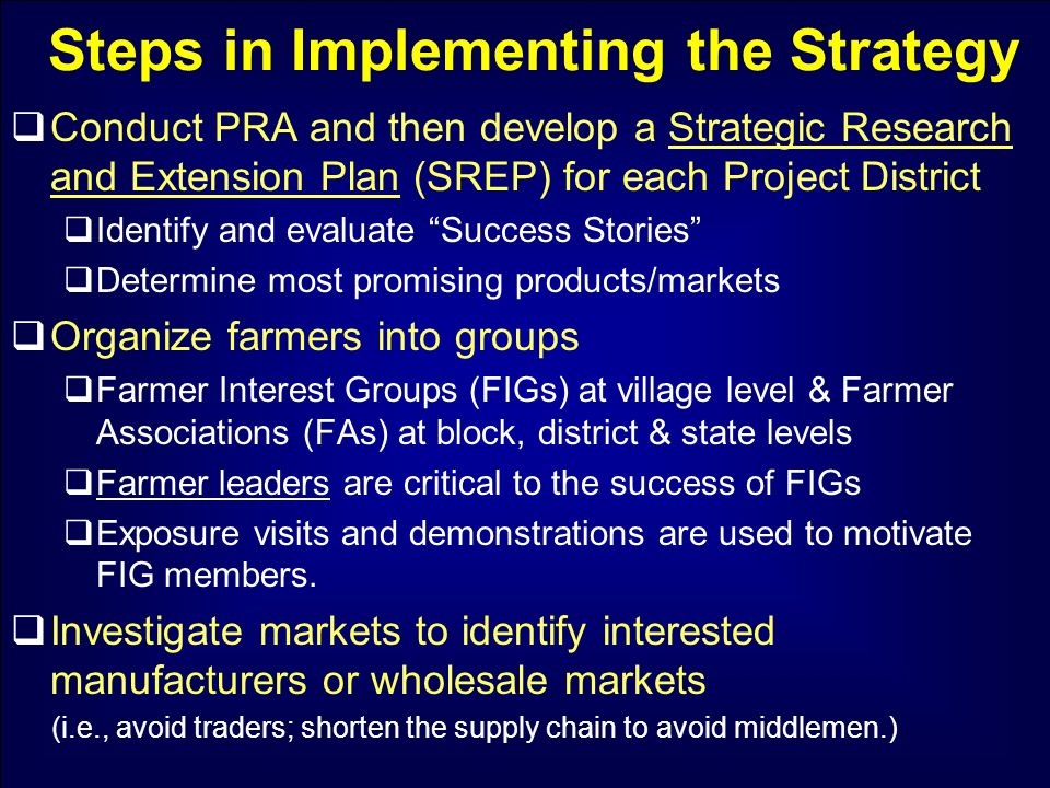 Steps in Implementing the Strategy