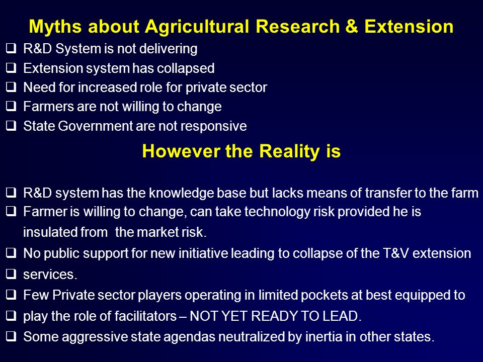 Myths about Agricultural Research & Extension