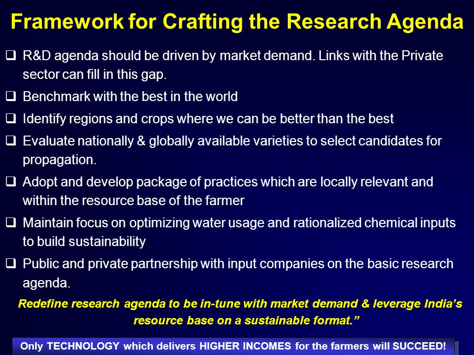 Framework for Crafting the Research Agenda