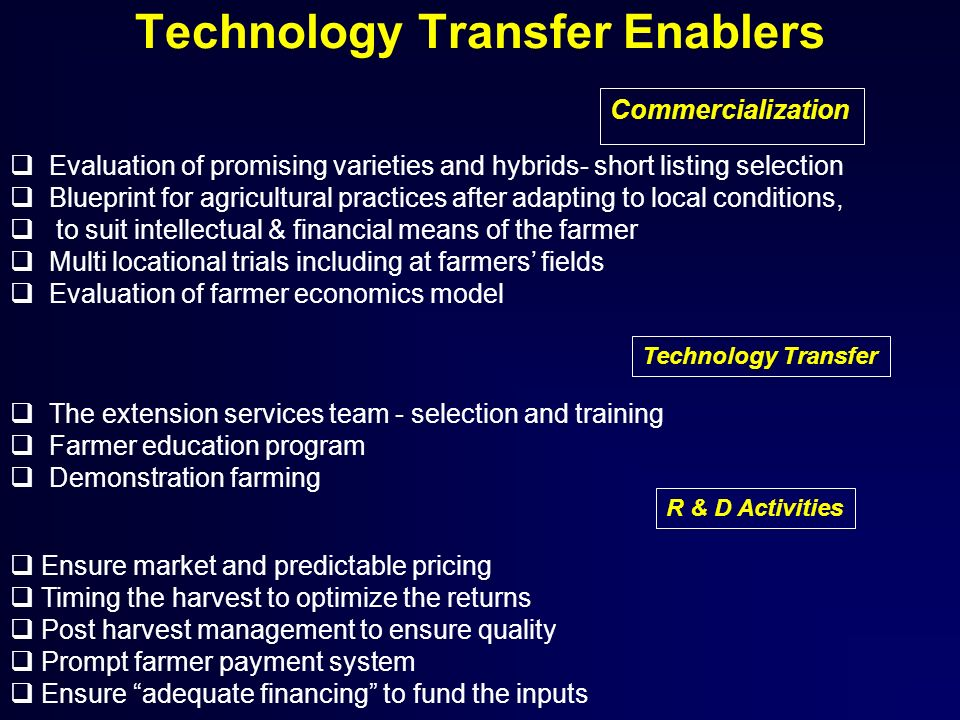 Technology Transfer Enablers