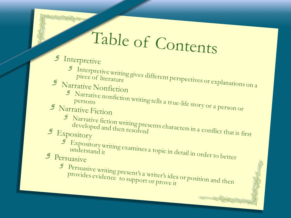 interpretive  narrative  expository  and persuasive