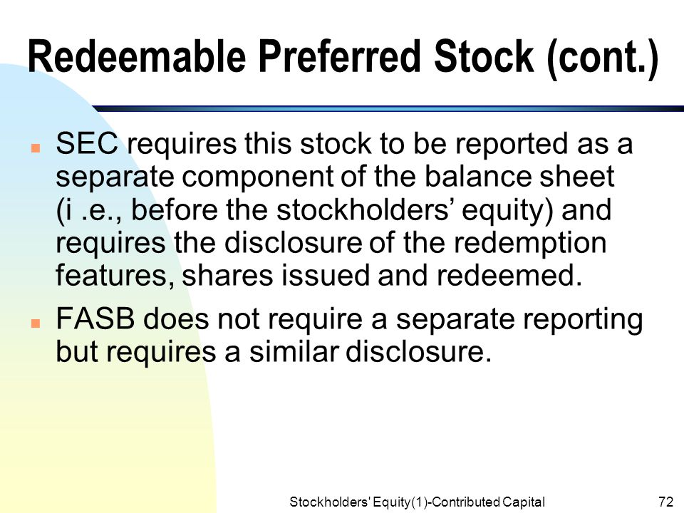 Accounting For Redeemable Preferred Stock