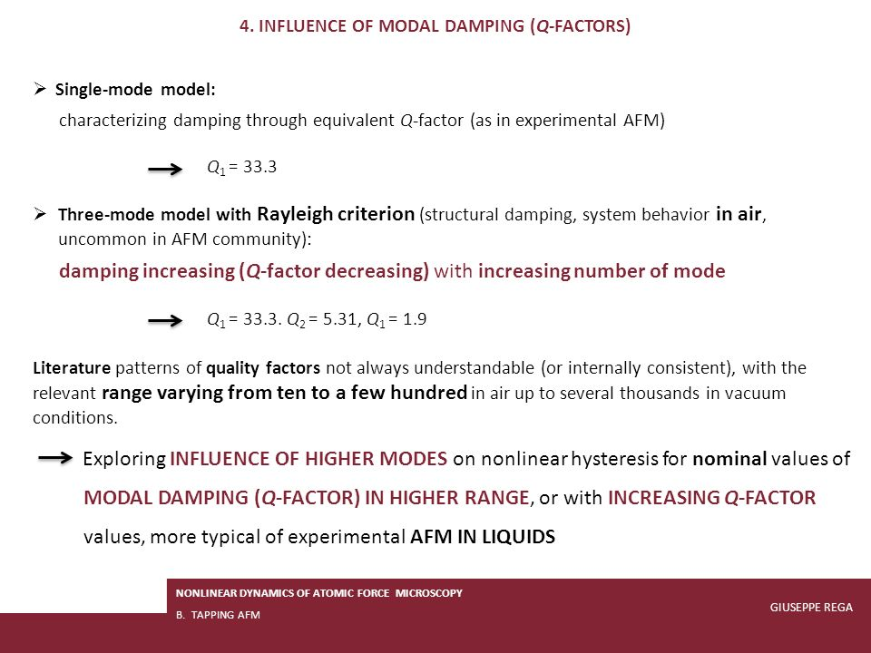4. INFLUENCE OF modal DAMPING (Q-FACTORS)