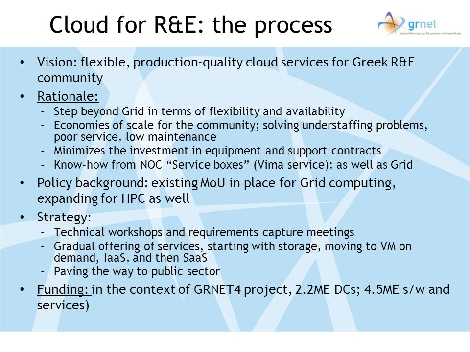 Cloud for R&E: the process