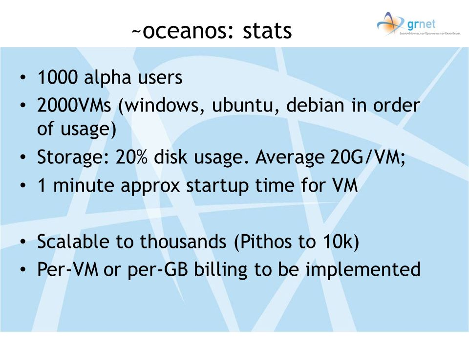 ~oceanos: stats 1000 alpha users