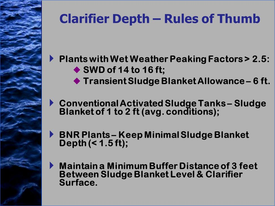 Clarifier Depth – Rules of Thumb