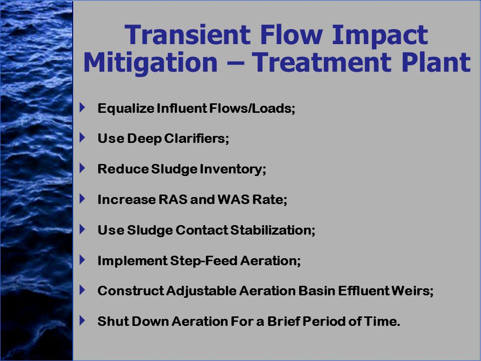Transient Flow Impact Mitigation – Treatment Plant