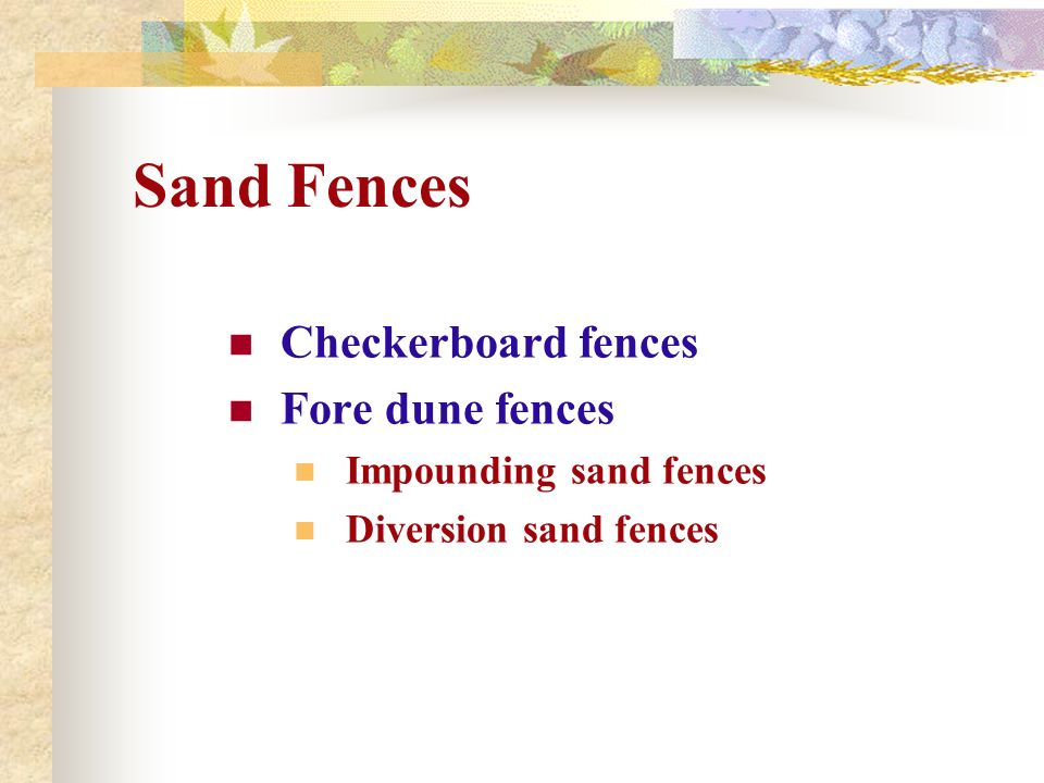 Sand Fences Checkerboard fences Fore dune fences