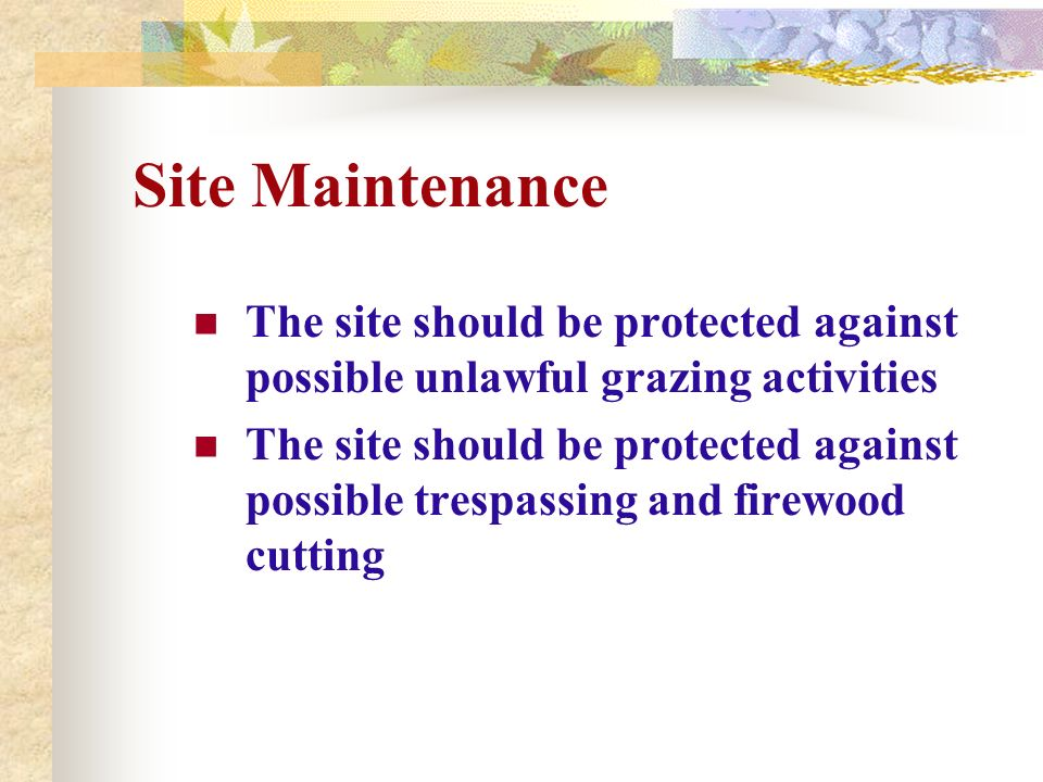 Site Maintenance The site should be protected against possible unlawful grazing activities.