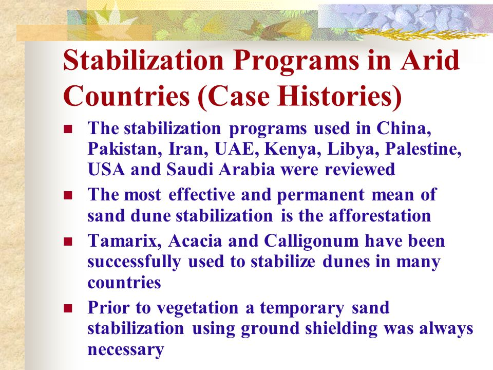 Stabilization Programs in Arid Countries (Case Histories)