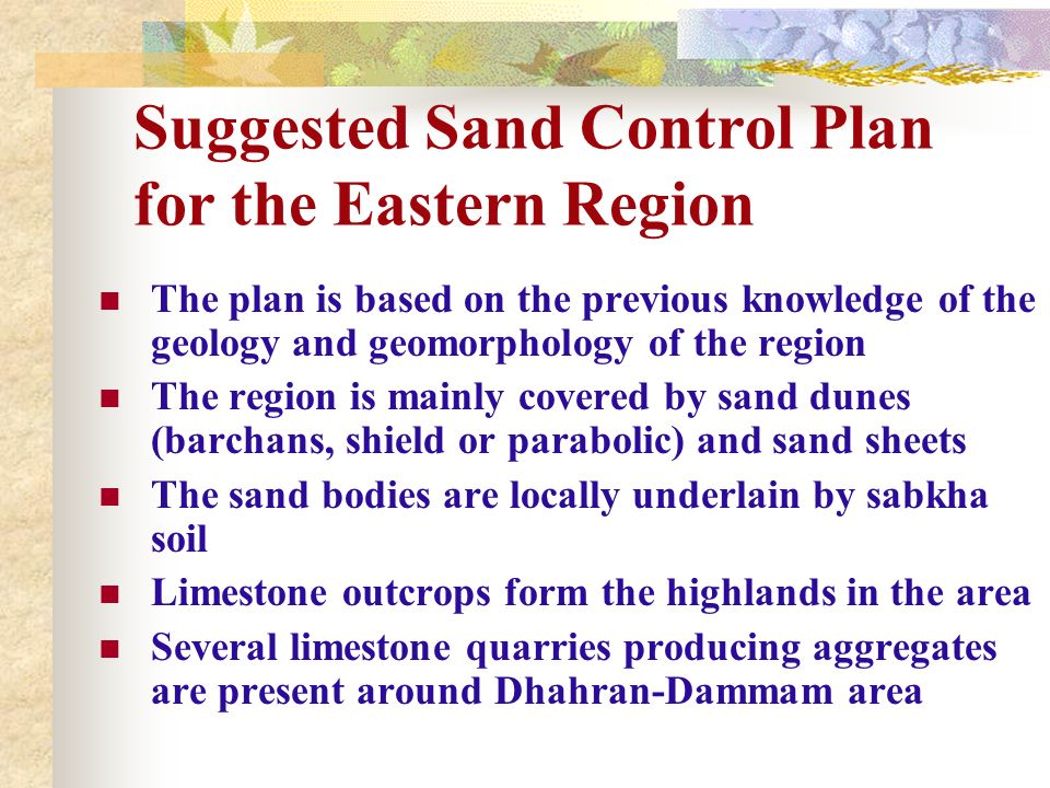 Suggested Sand Control Plan for the Eastern Region
