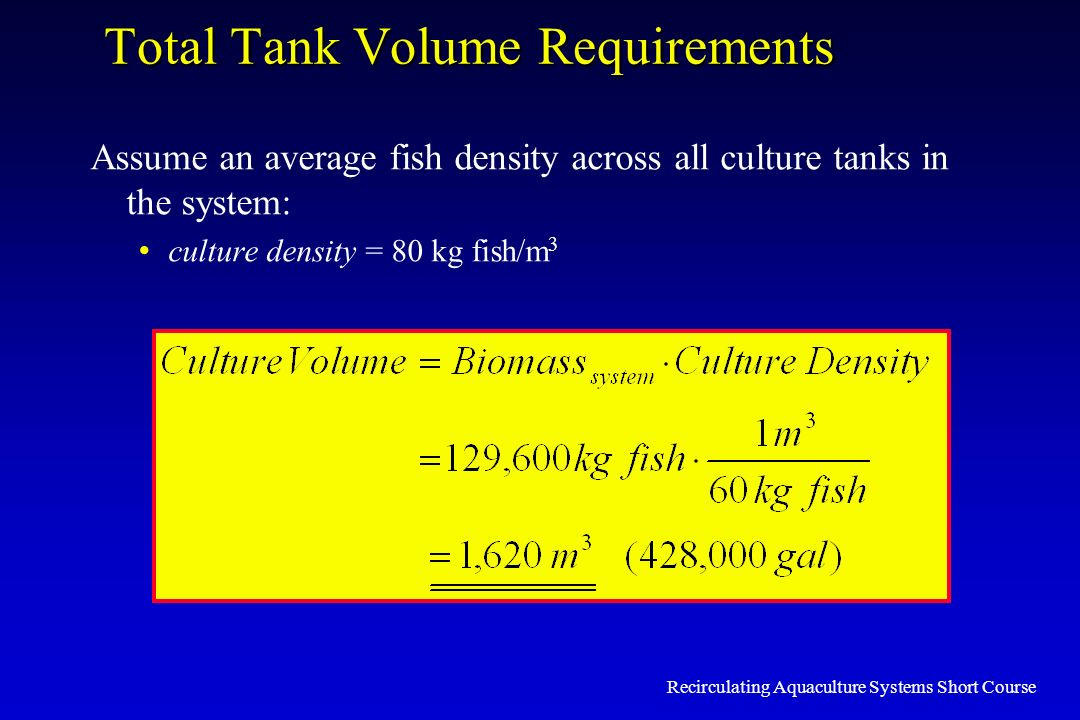 Total Tank Volume Requirements