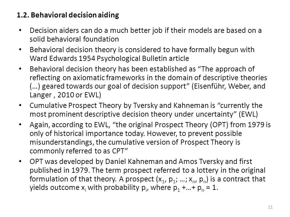 1.2. Behavioral decision aiding