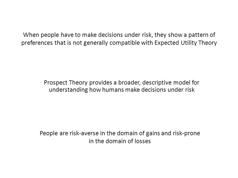 When people have to make decisions under risk, they show a pattern of preferences that is not generally compatible with Expected Utility Theory