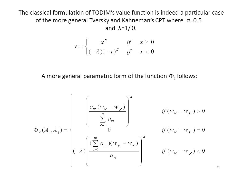 A more general parametric form of the function c follows: