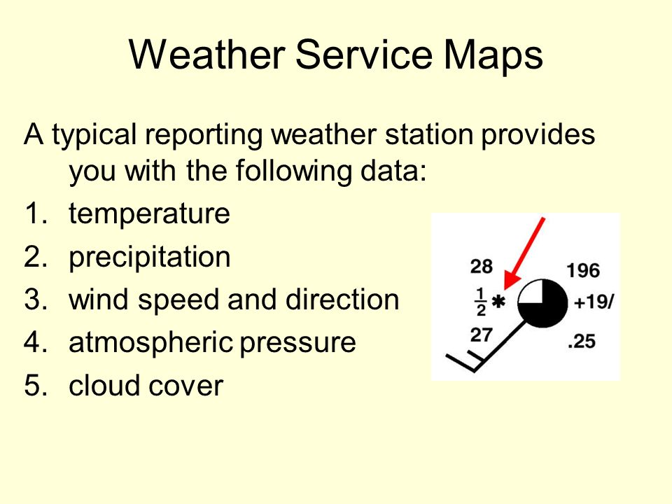 Weather Service Maps A typical reporting weather station provides you with the following data: temperature.