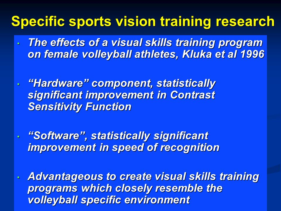 Specific sports vision training research