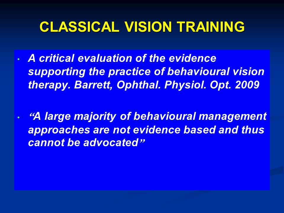 CLASSICAL VISION TRAINING