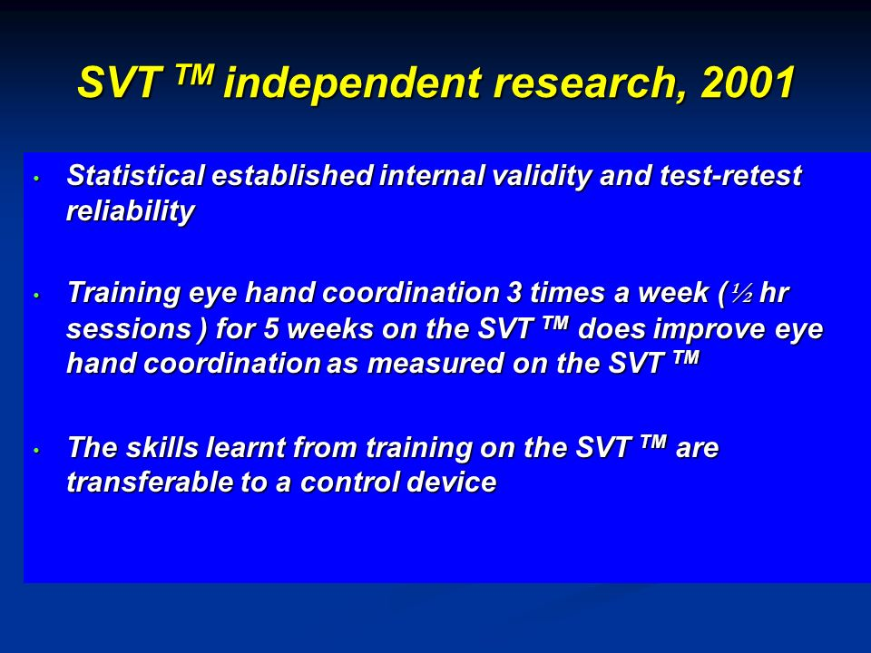 SVT TM independent research, 2001