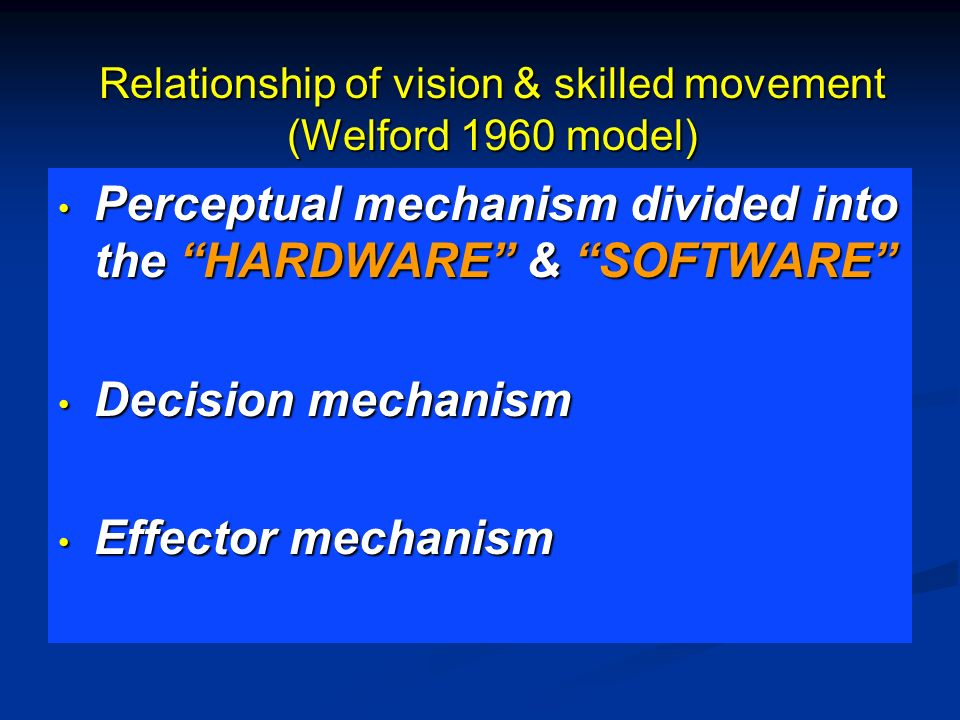Relationship of vision & skilled movement (Welford 1960 model)