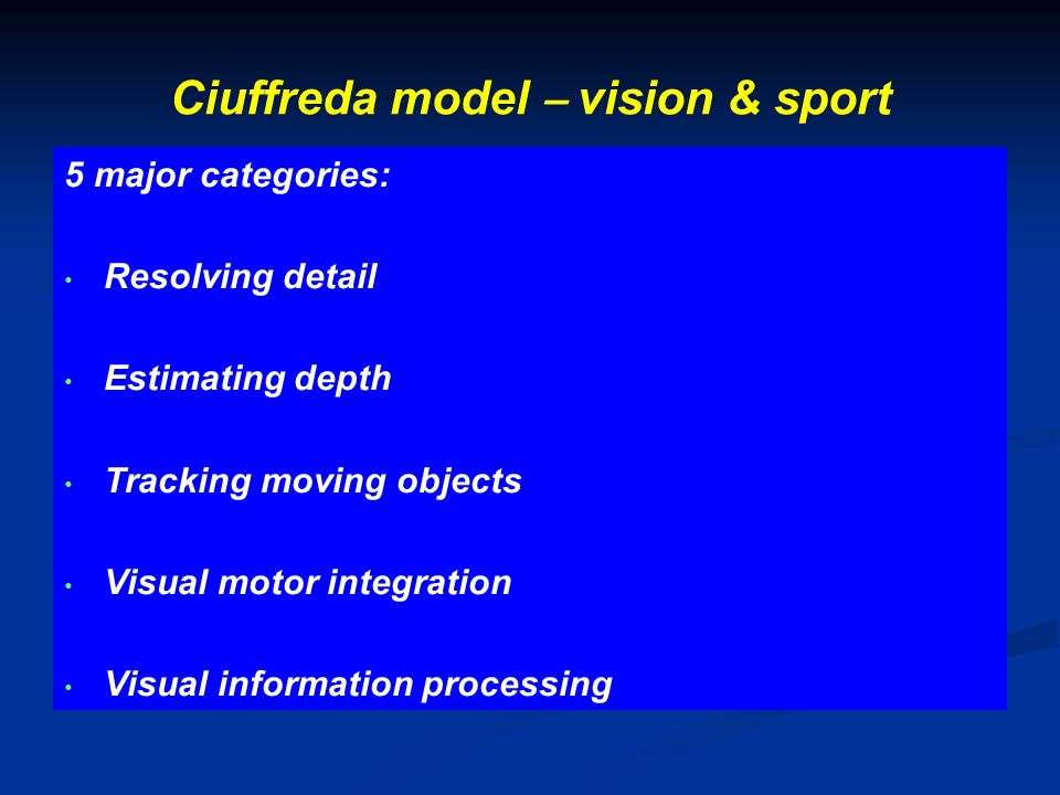Ciuffreda model – vision & sport