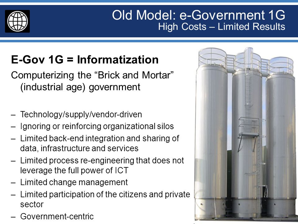 Old Model: e-Government 1G High Costs – Limited Results