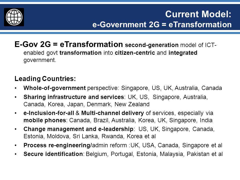 Current Model: e-Government 2G = eTransformation