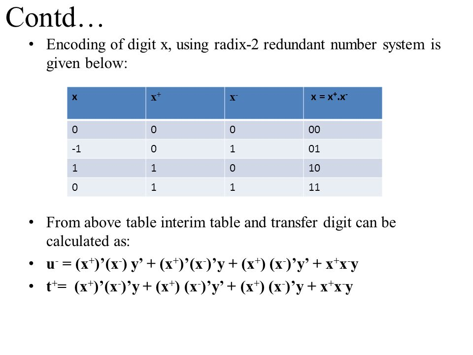 Contd… Encoding of digit x, using radix-2 redundant number system is given below: