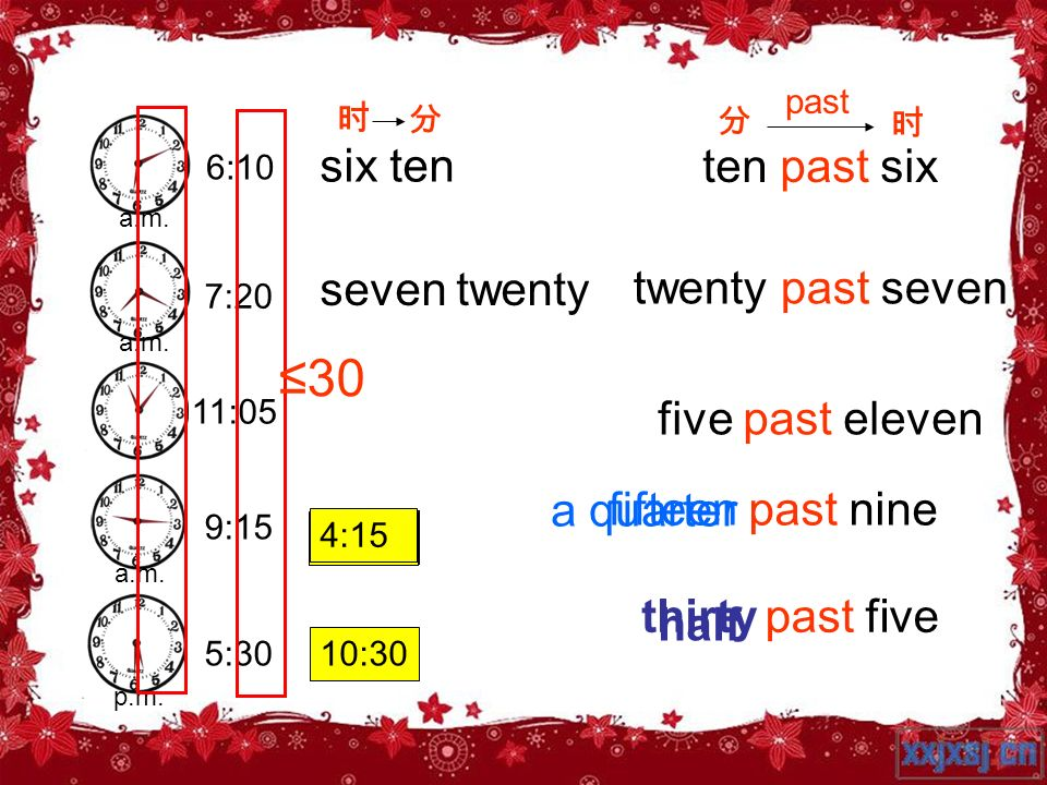 ≤30 six ten ten past six seven twenty twenty past seven