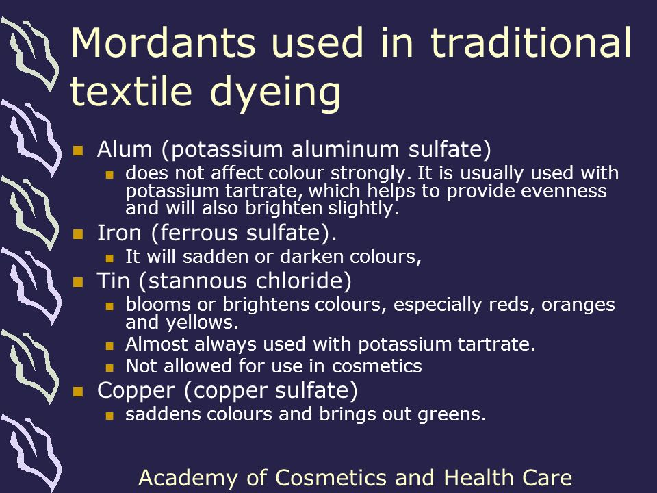 Mordants used in traditional textile dyeing
